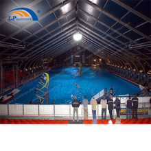 Clear span curved temporary modular building for swimming pool